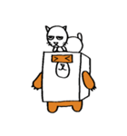 シロ箱クマと猫(個別スタンプ:05)