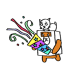 シロ箱クマと猫(個別スタンプ:23)