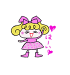 カラフル可愛い女の子のスタンプ(個別スタンプ:02)