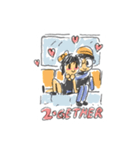 Long Distance Cute Power Couple(個別スタンプ:33)