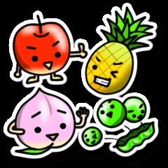果物さんとお野菜さんのシールスタンプ
