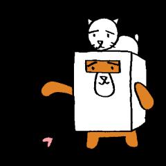 [LINEスタンプ] シロ箱クマと猫 (1)