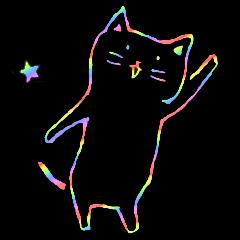 虹色の黒ねこ