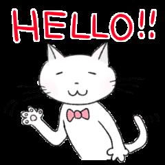 白猫にゃんこのほのぼのスタンプ 冬物語