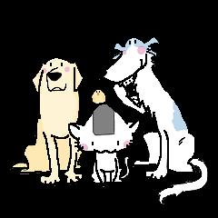 おにぎりネコと、あおい犬