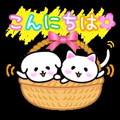 [LINEスタンプ] 白い犬と時々白ネコと白ウサギ