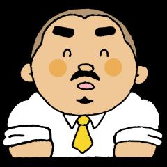 筋肉質の小太りどじょう髭リーマン