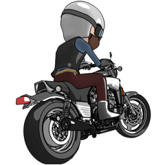 パワフルバイクに乗るライダー