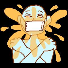 [LINEスタンプ] マスクの青男