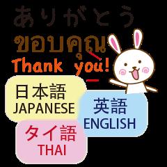 タイ語と日本語と英語を使う うさぎ