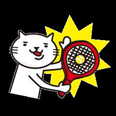 テニスととても白い猫