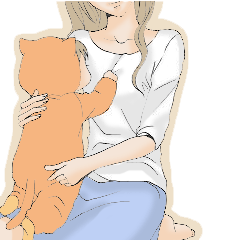 主婦、妻の妊婦、育児スタンプ