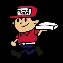 ピザ屋でバイトしている人のスタンプ
