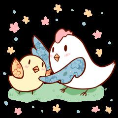 花柄ひよこ&花柄鶏の「ちよどりさん」01