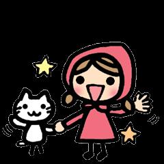 かわいい女の子と猫のイギリス英語