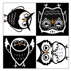 Funny black and white owls 1