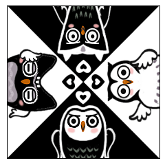 Funny black and white owls 2