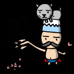 ハートステッキを持つ裸の王様。富士山と猫