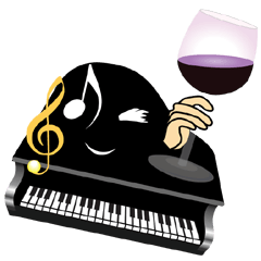 ピアノのノアピーとモモピンの女子スタンプ