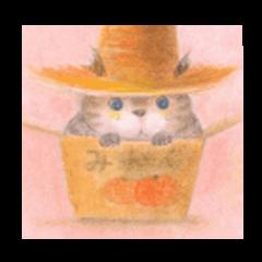 麦藁帽子をかぶった猫