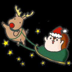 トナカイ&リスのクリスマススタンプ
